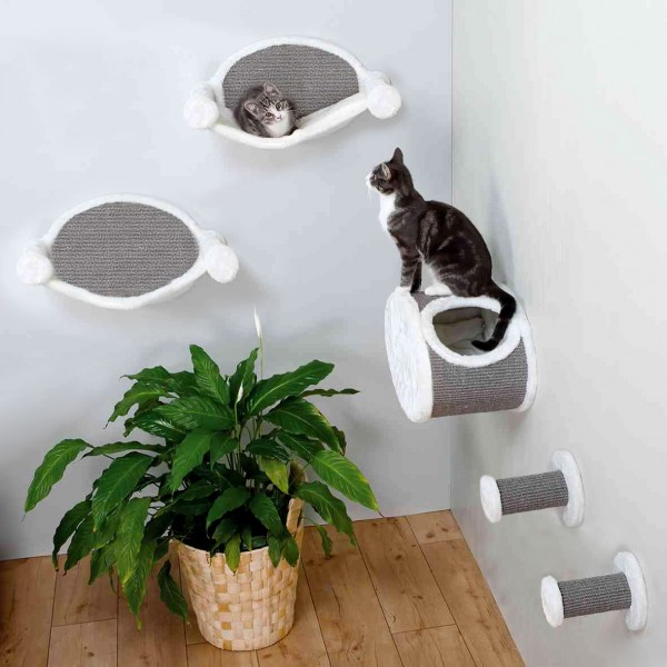 Katzen-Kletterparadies XL zur Wandmontage, 5 tlg. - Kuschelhöhle, 2x Hängematte, 2x Kletterstufe