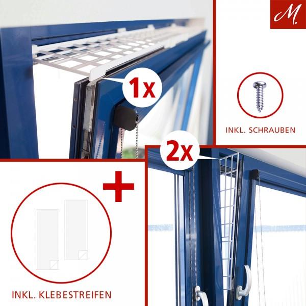 Kippfenster-Schutzgitter Set, Kunstoff, 3-tlg., oben/unten ausziehbar, weiß - 75-125x16 cm